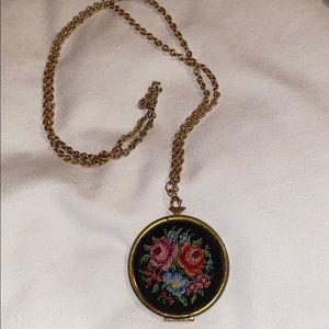 Avon Vintage Needle Point Locket w/golden chain